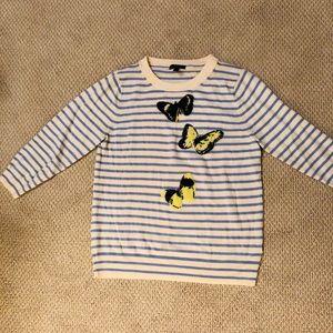J. Crew Blue striped butterfly sweater